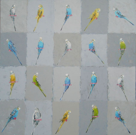 Budgerigar grid on greys two 100cm sq  1750