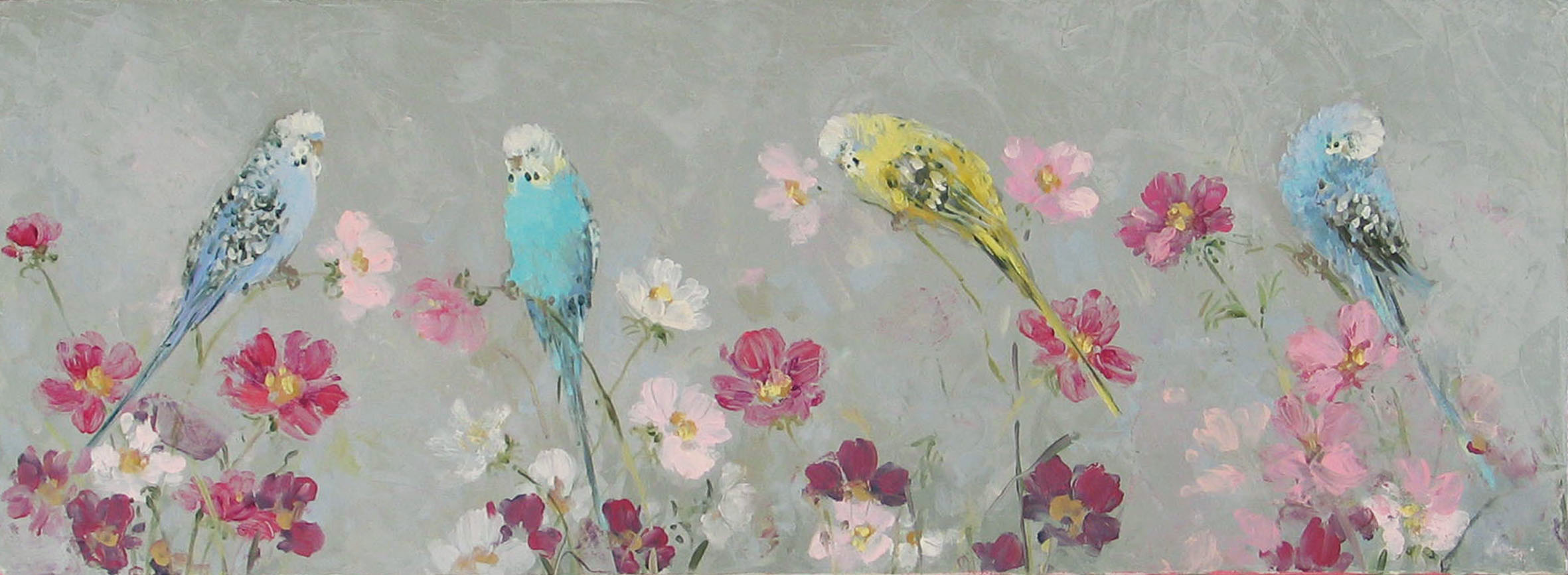 Four budgerigars with cosmos oil on canvas 80 cm x 30 cm sold