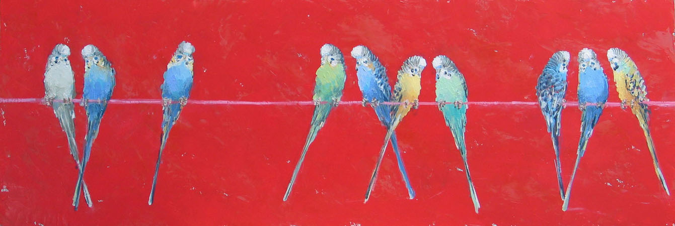 Perching budgies in vermillion 100 cm x 40 cm Acrylic on canvas sold