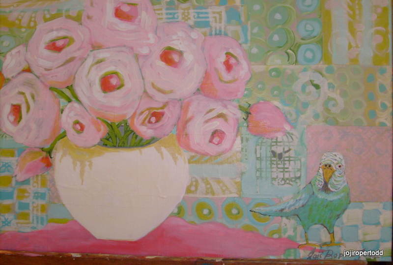 Pink Roses with Budgie